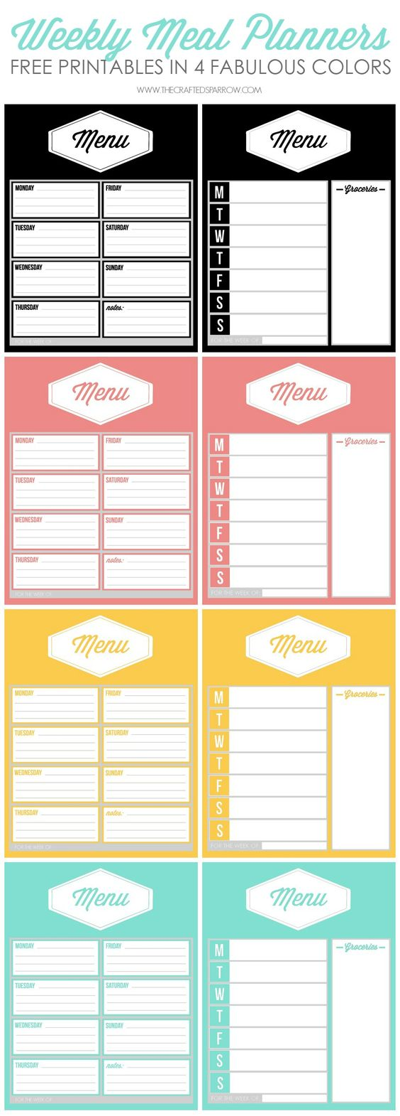Weekly Calendar Meal Planners : Super pretty free meal planners for busy boss babes